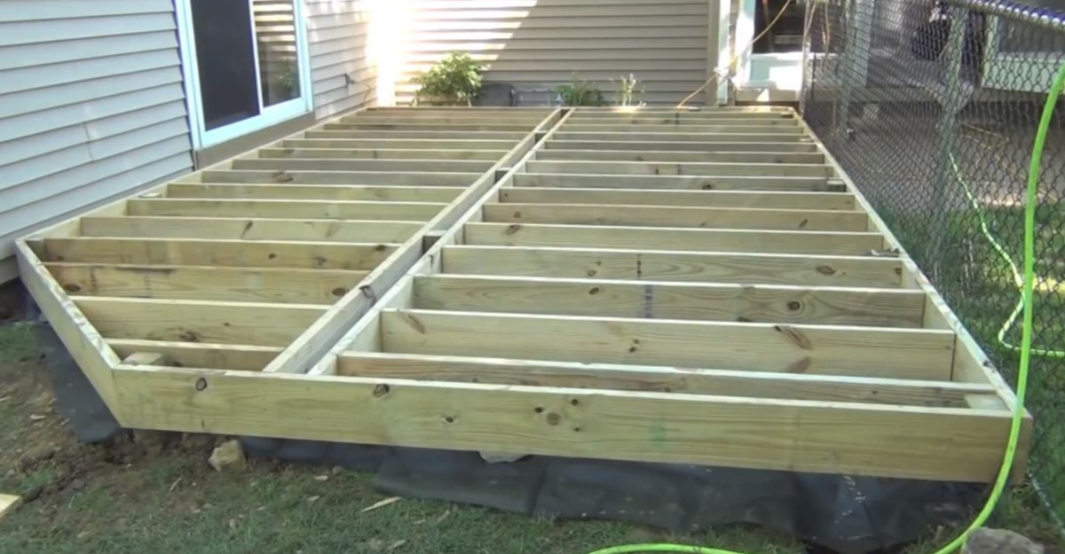 Ground level deck plans pictures to pin on pinterest for Wood deck designs free